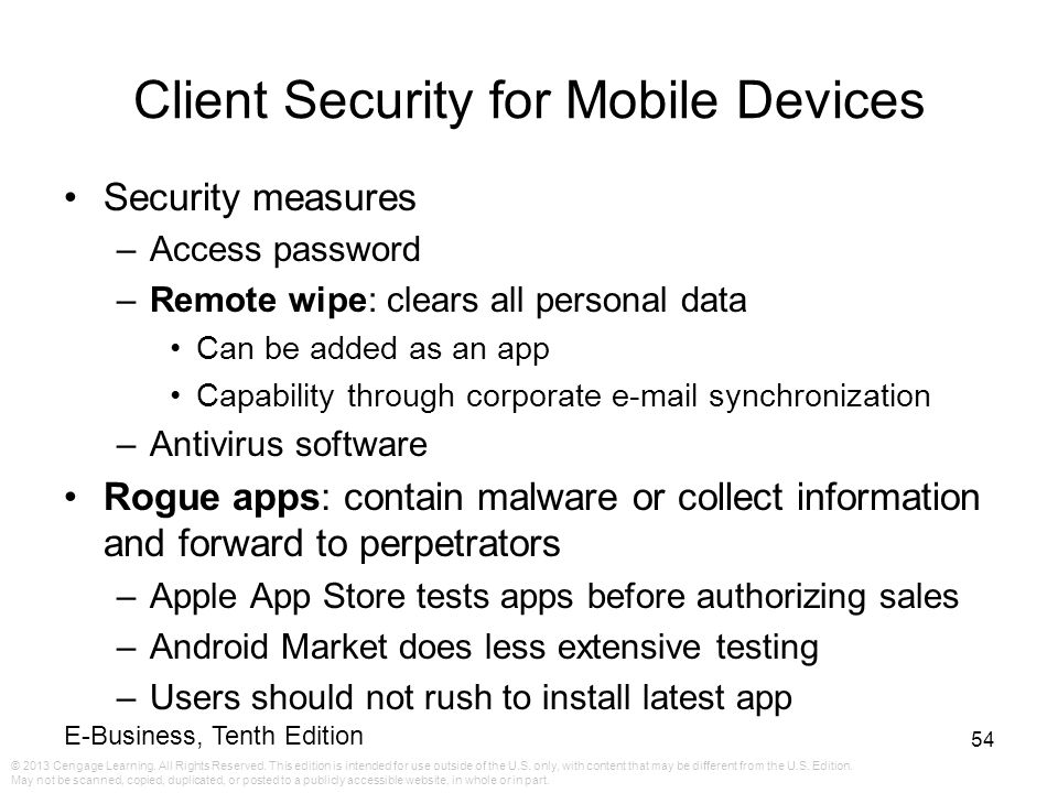 Client Security for Mobile Devices