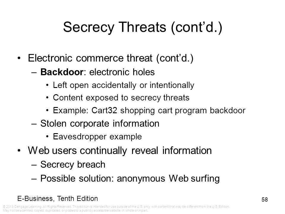 Secrecy Threats (cont'd.)