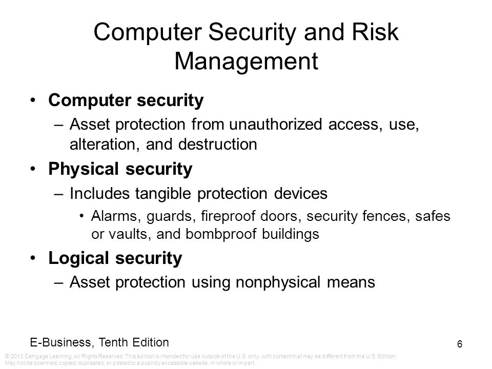Computer Security and Risk Management