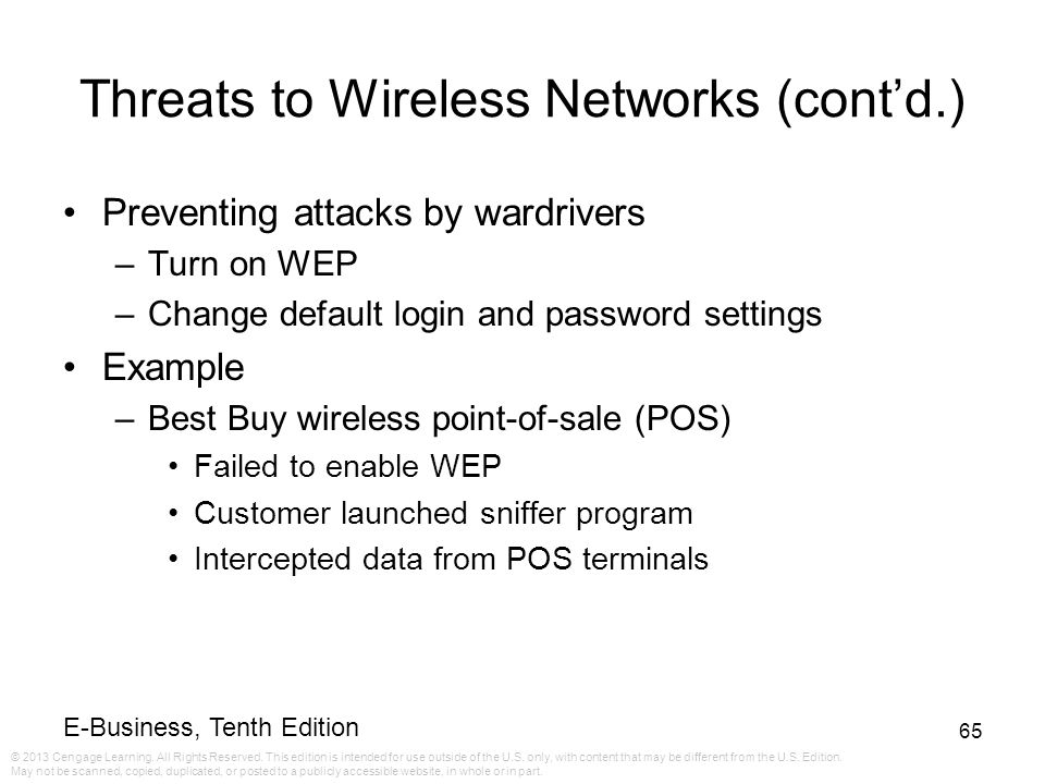 Threats to Wireless Networks (cont'd.)