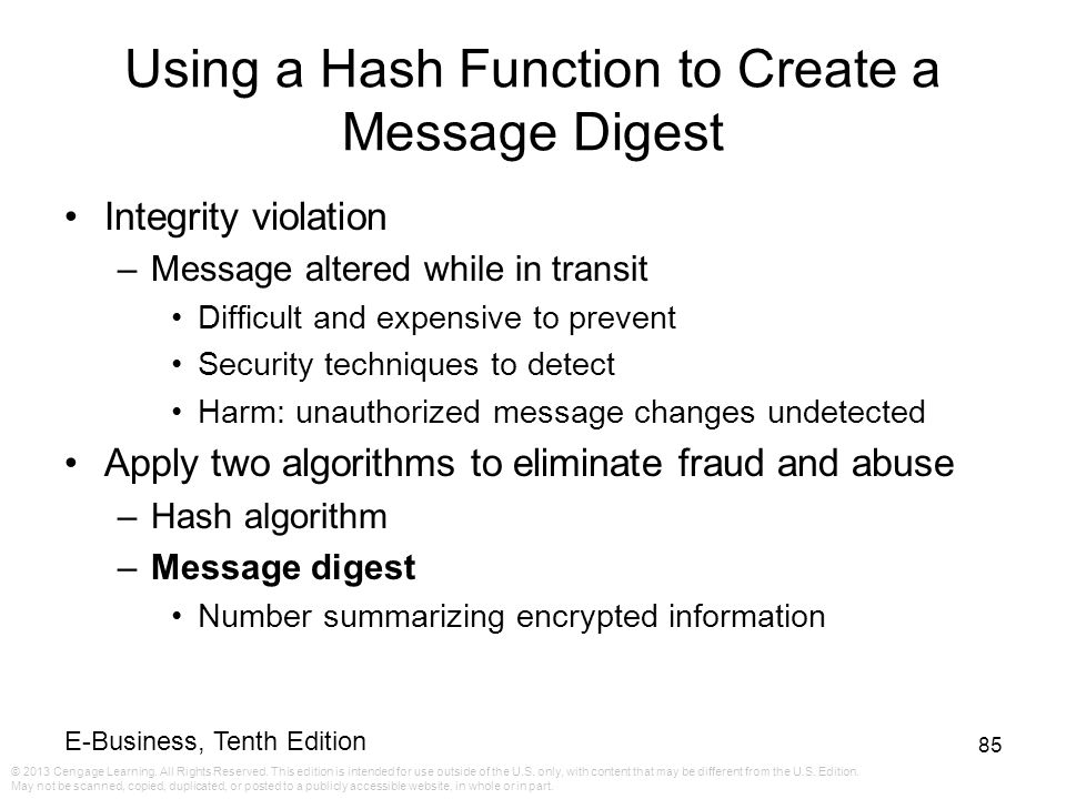 Using a Hash Function to Create a Message Digest