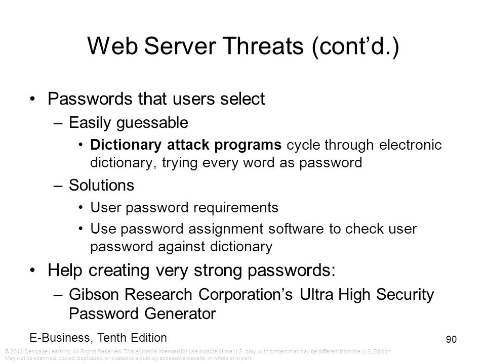 Web Server Threats (cont'd.)