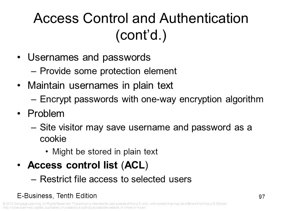 Access Control and Authentication (cont'd.)
