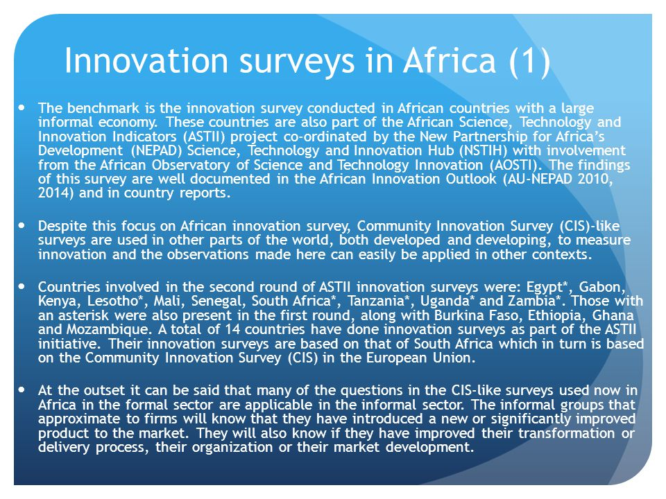 Innovation surveys in Africa (1)