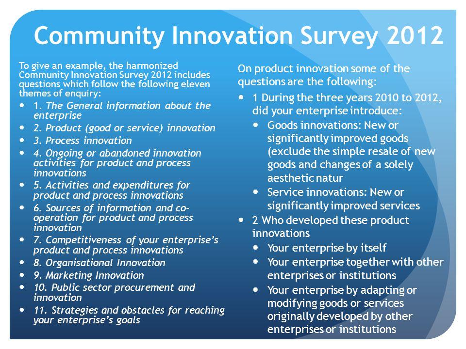 Community Innovation Survey 2012