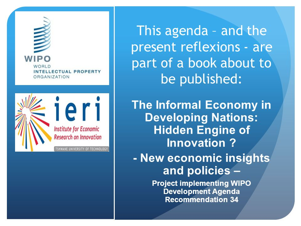 This agenda – and the present reflexions - are part of a book about to be published: