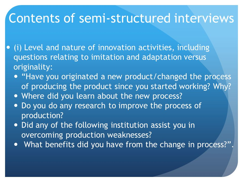 Contents of semi-structured interviews