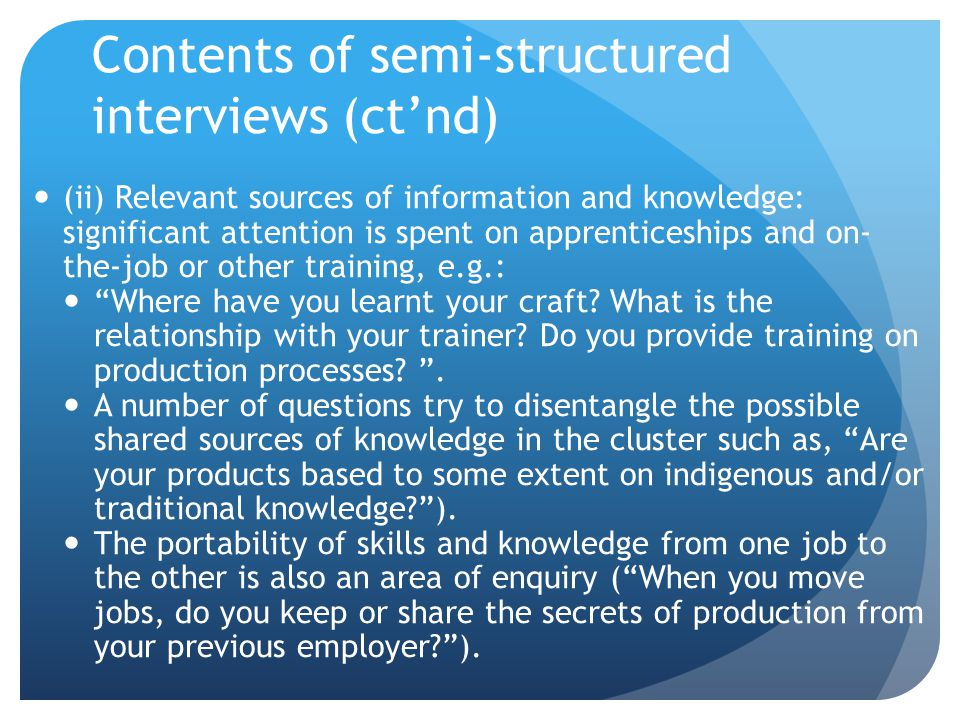 Contents of semi-structured interviews (ct'nd)