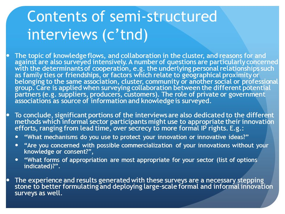 Contents of semi-structured interviews (c'tnd)