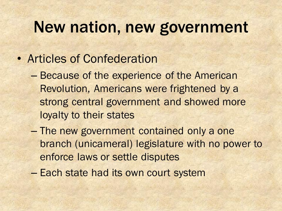 New nation, new government
