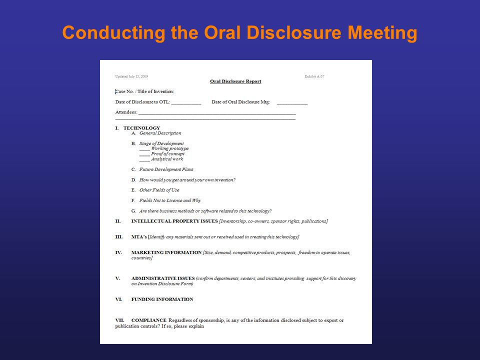 Conducting the Oral Disclosure Meeting