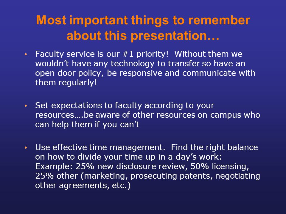 Most important things to remember about this presentation…