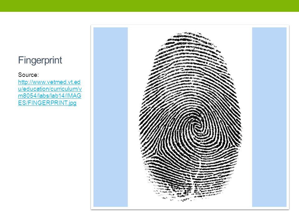 Fingerprint Source: http://www.vetmed.vt.edu/education/curriculum/vm8054/labs/lab14/IMAGES/FINGERPRINT.jpg.