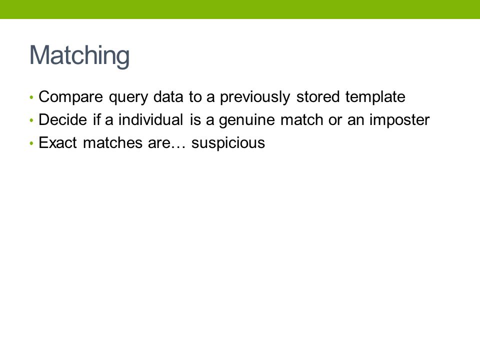 Matching Compare query data to a previously stored template