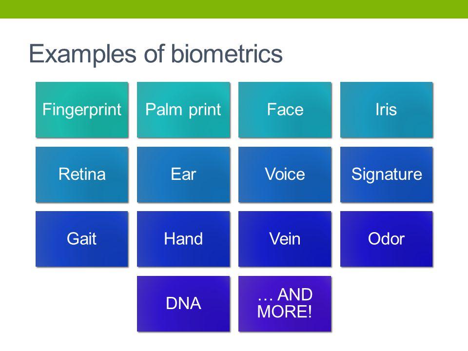 Examples of biometrics