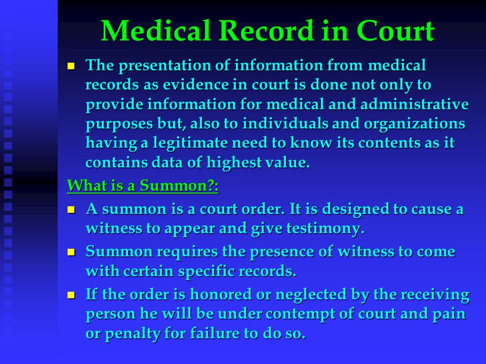 Medical Record in Court