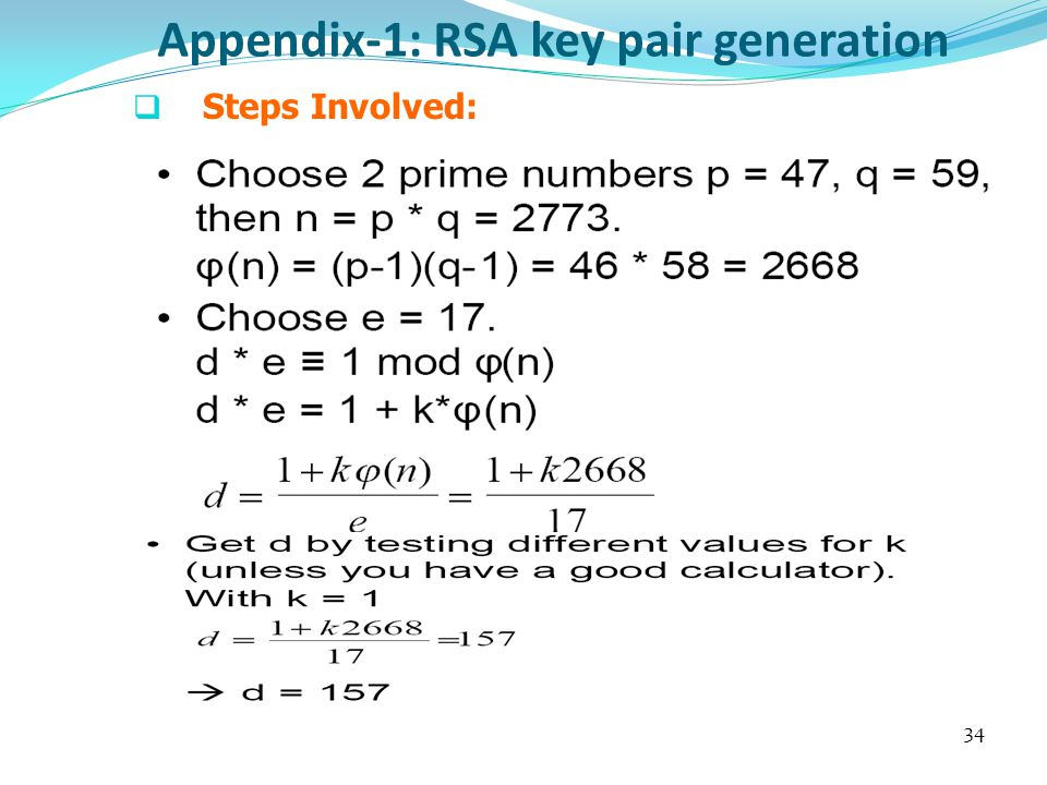 Appendix-1: RSA key pair generation