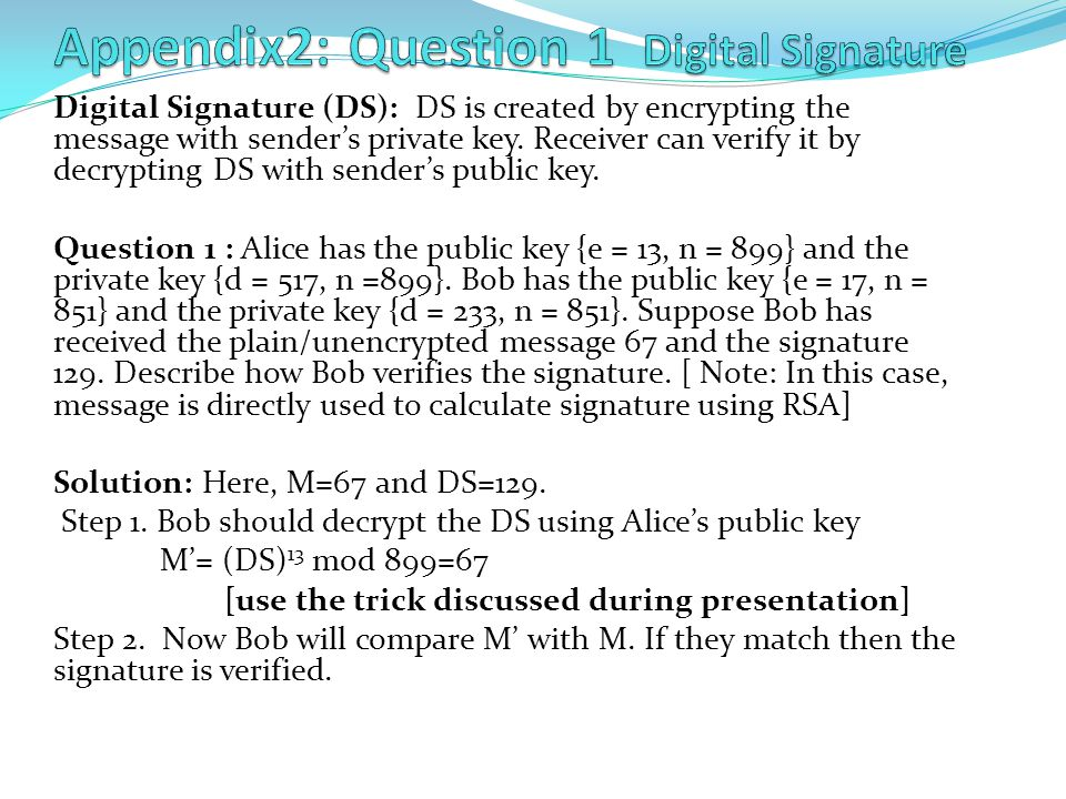 Appendix2: Question 1 Digital Signature
