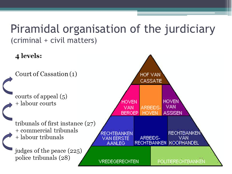 Piramidal organisation of the jurdiciary (criminal + civil matters)