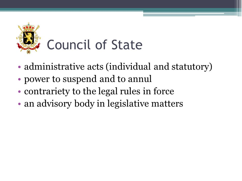 Council of State administrative acts (individual and statutory)