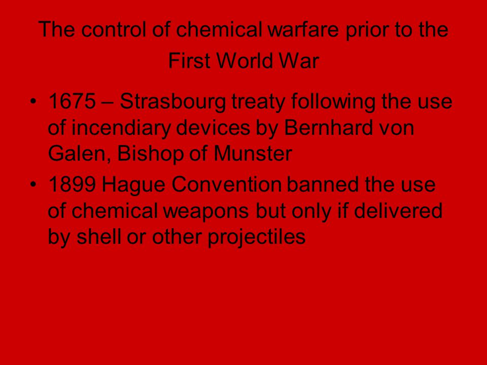 The control of chemical warfare prior to the First World War