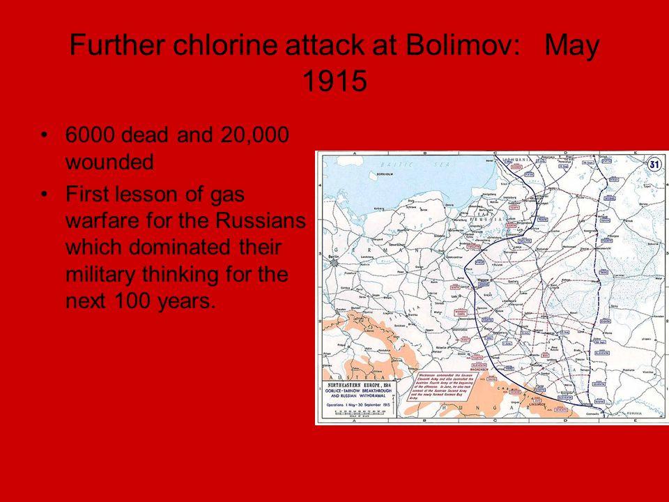 Further chlorine attack at Bolimov: May 1915