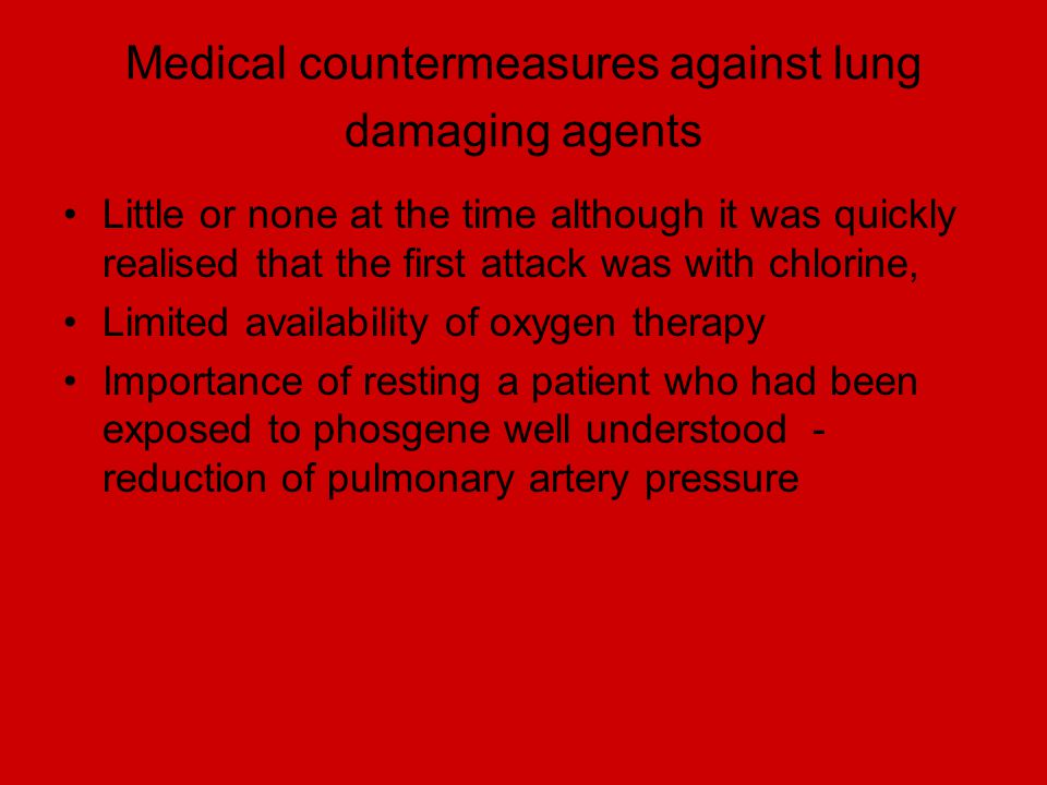 Medical countermeasures against lung damaging agents