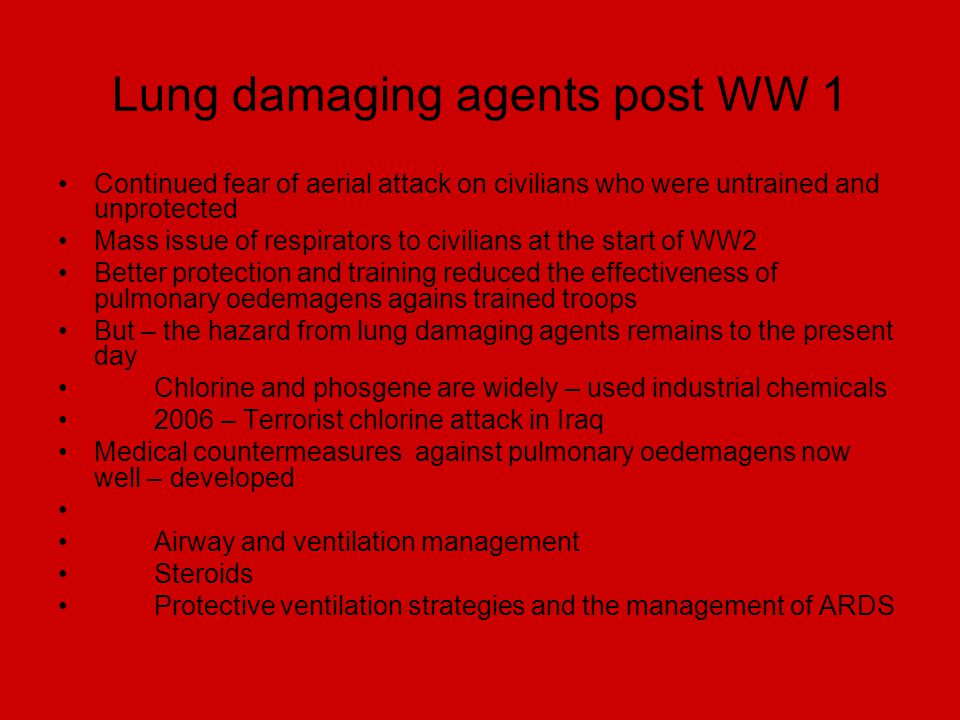 Lung damaging agents post WW 1