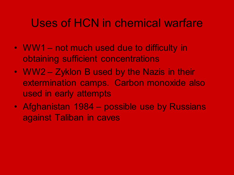 Uses of HCN in chemical warfare