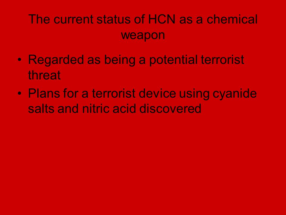 The current status of HCN as a chemical weapon