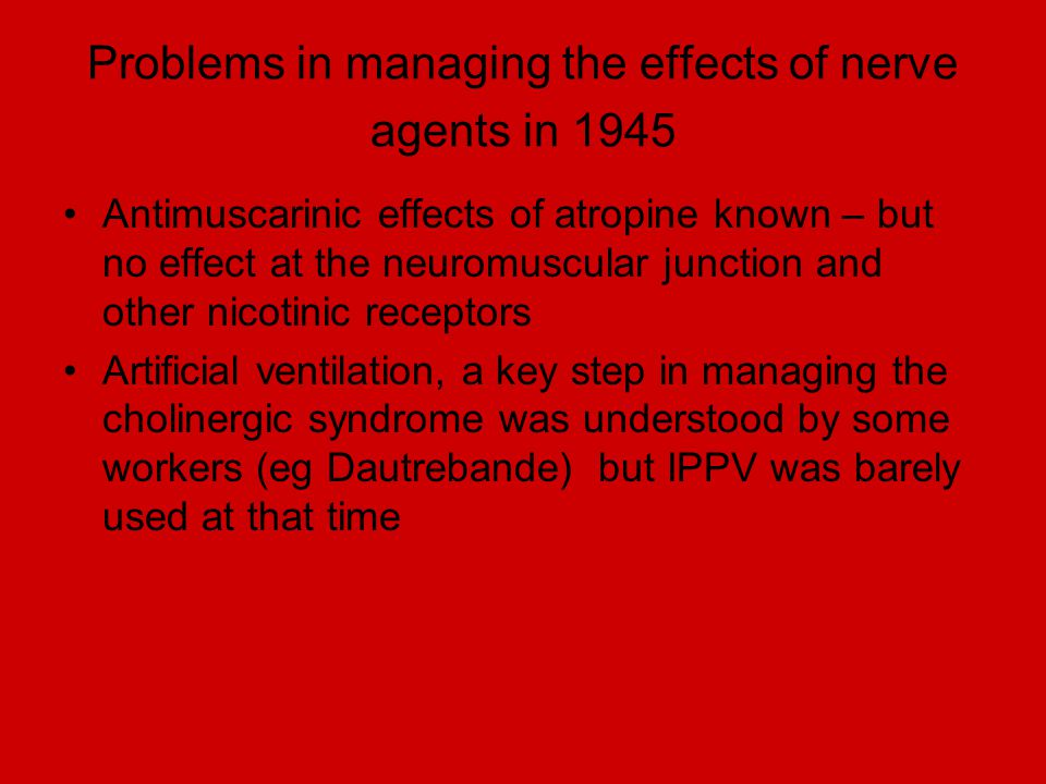 Problems in managing the effects of nerve agents in 1945