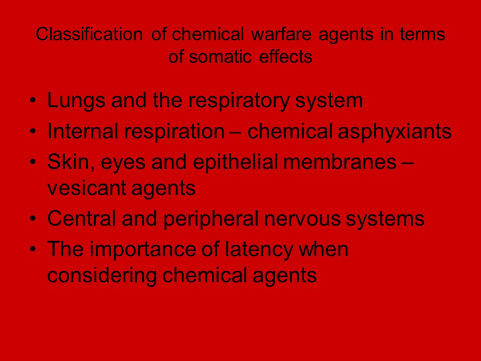 Classification of chemical warfare agents in terms of somatic effects