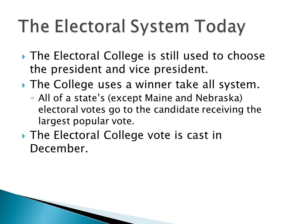 The Electoral System Today