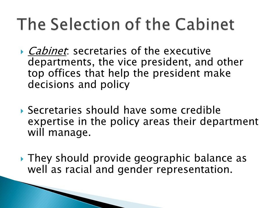 The Selection of the Cabinet