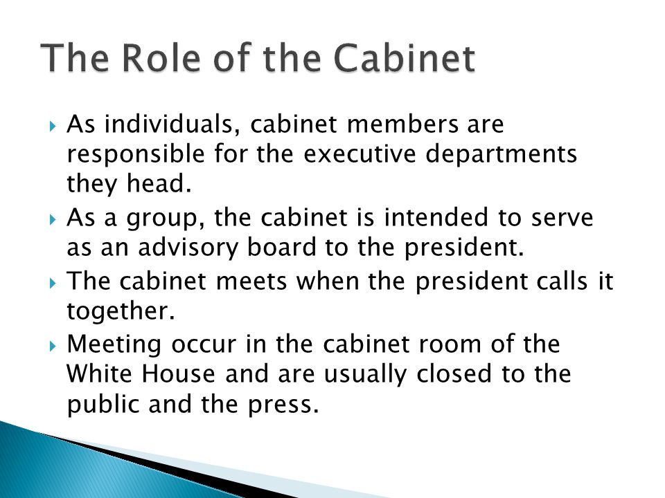 The Role of the Cabinet As individuals, cabinet members are responsible for the executive departments they head.