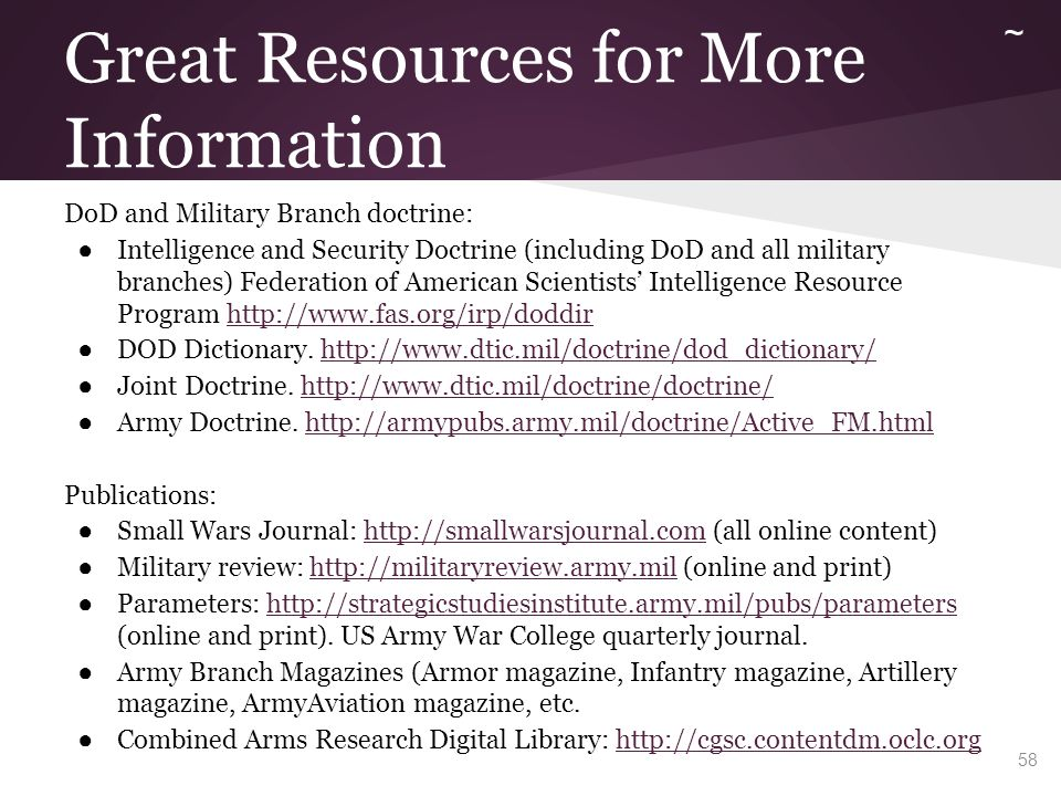 More resources ~ Military Theorists: