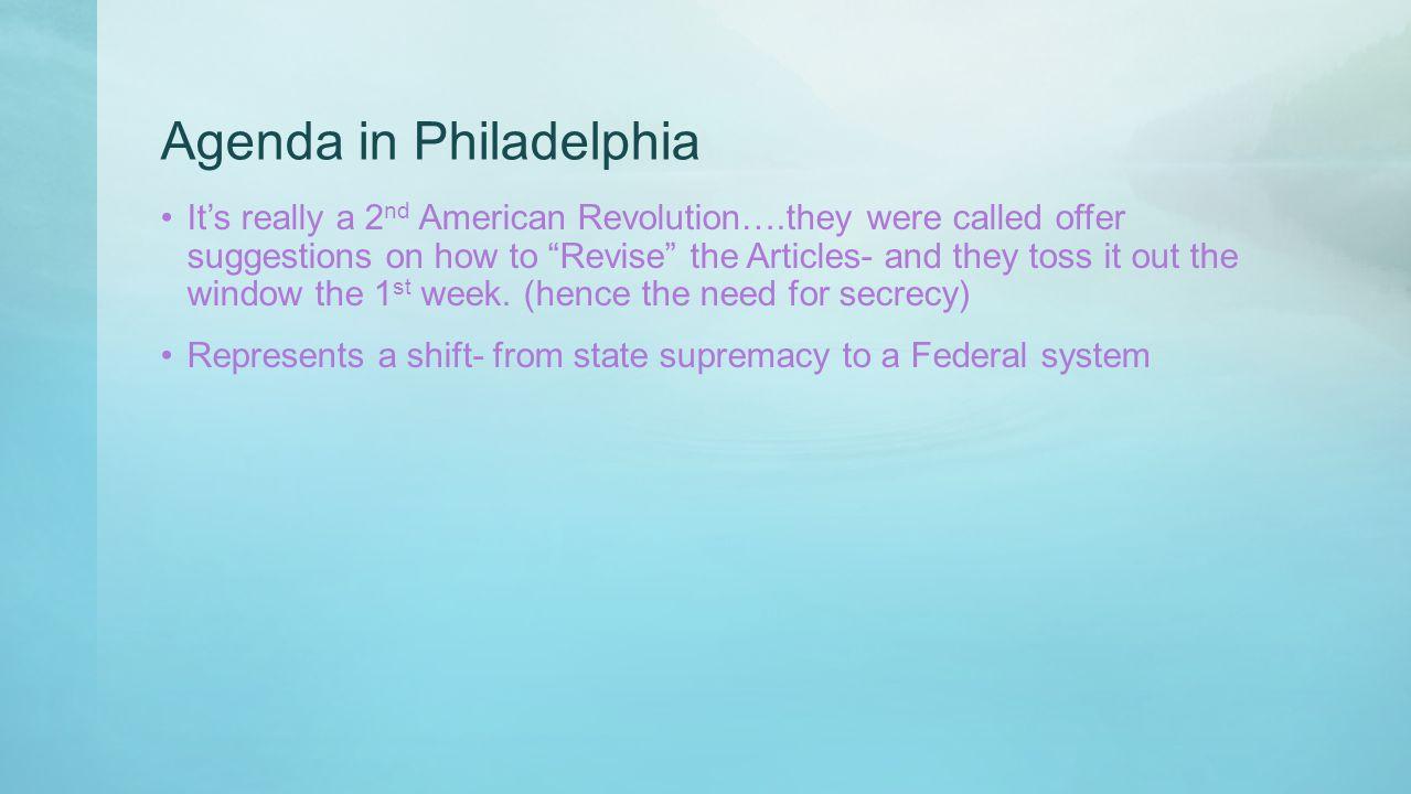Agenda in Philadelphia