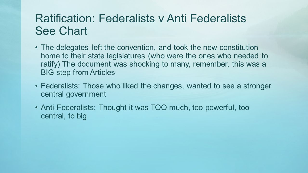 Ratification: Federalists v Anti Federalists See Chart