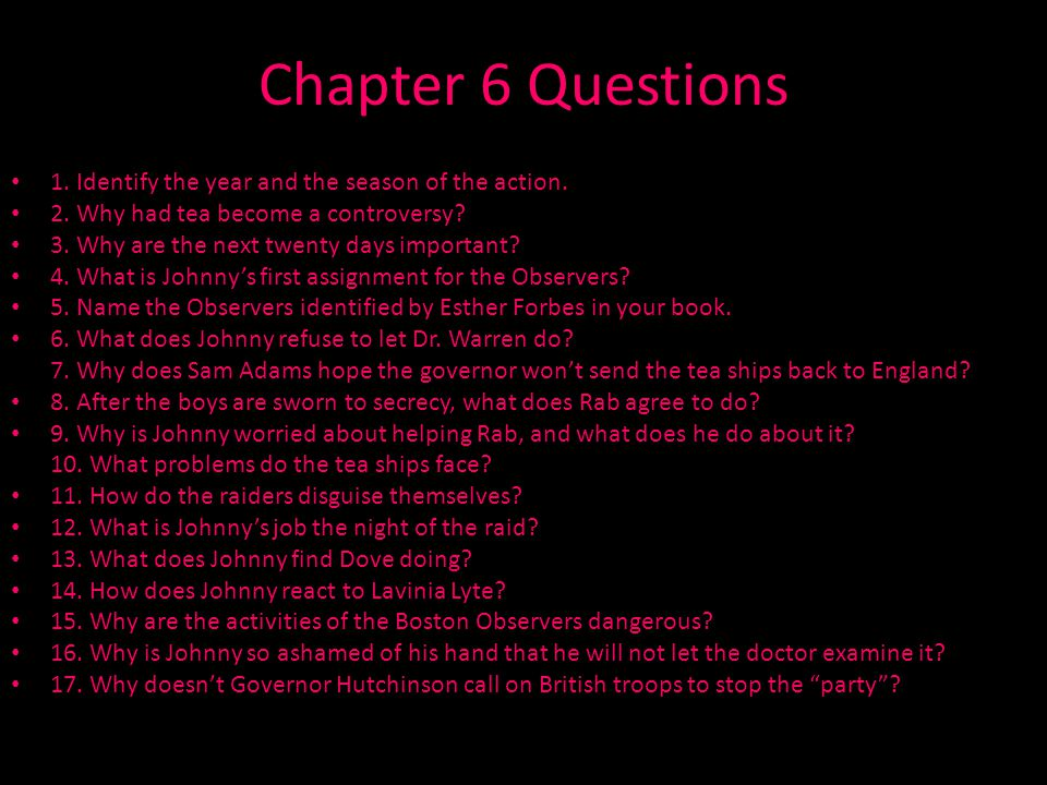 Chapter 6 Questions 1. Identify the year and the season of the action.