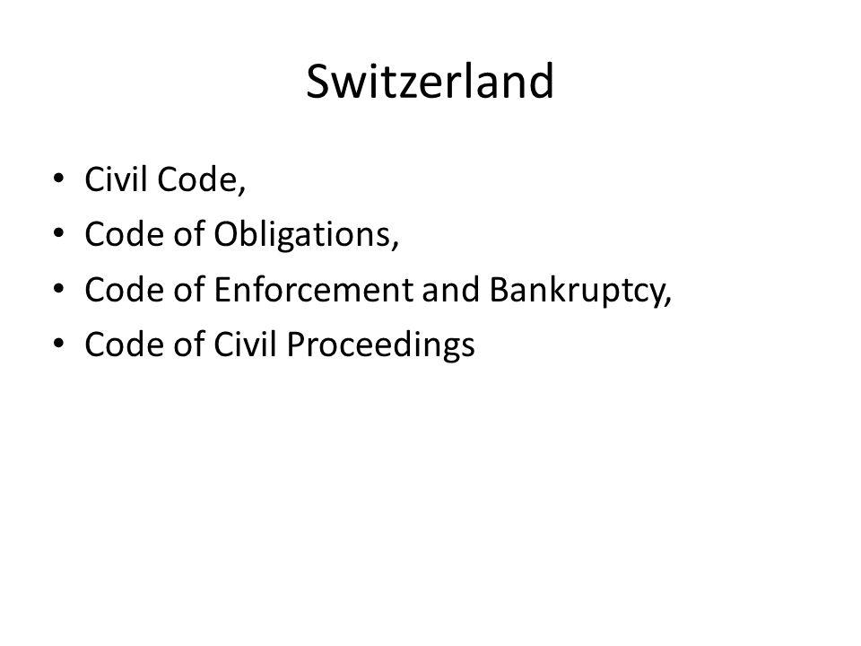 Switzerland Civil Code, Code of Obligations,