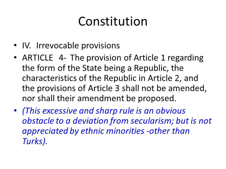 Constitution IV. Irrevocable provisions