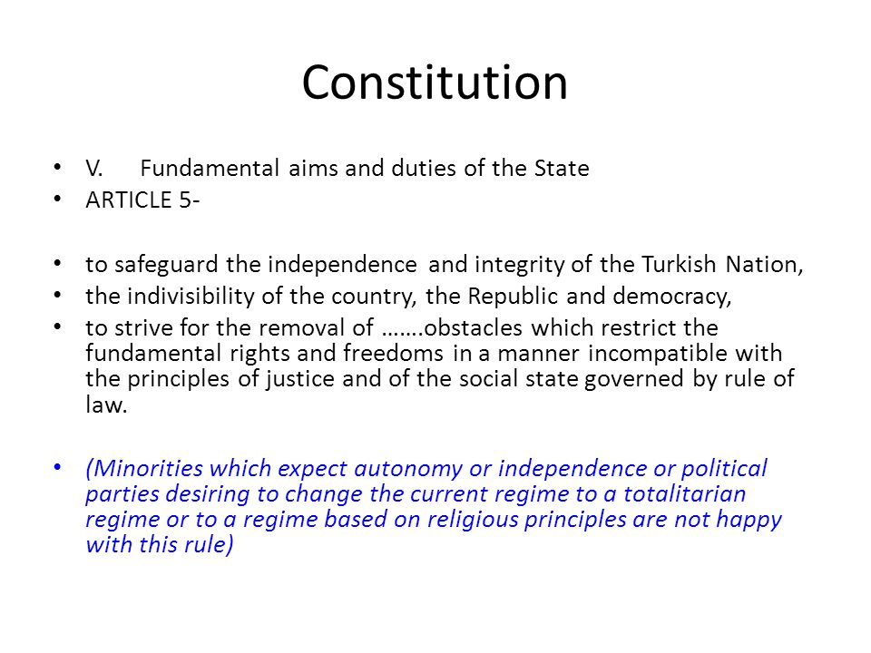 Constitution V. Fundamental aims and duties of the State ARTICLE 5-
