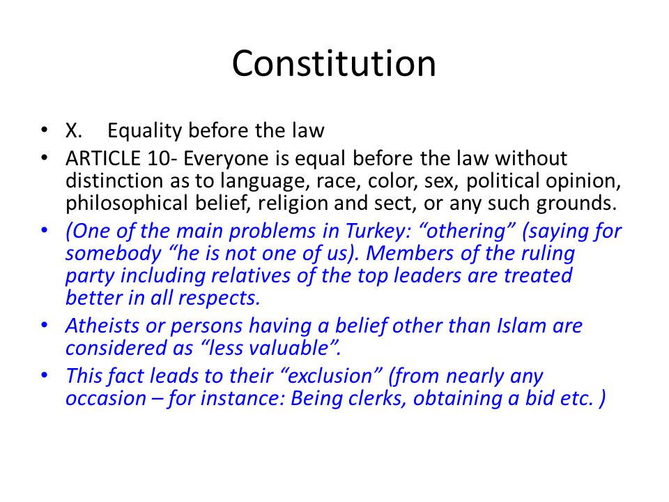 Constitution X. Equality before the law