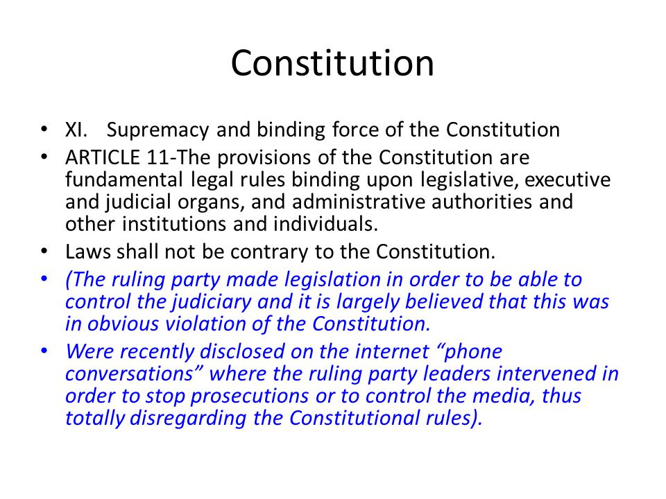 Constitution XI. Supremacy and binding force of the Constitution