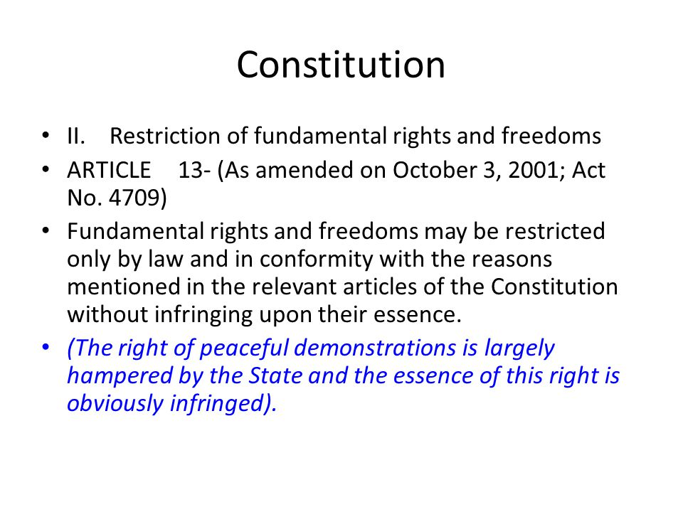 Constitution II. Restriction of fundamental rights and freedoms