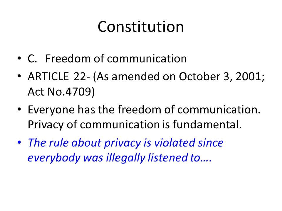 Constitution C. Freedom of communication
