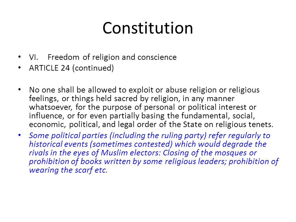 Constitution VI. Freedom of religion and conscience