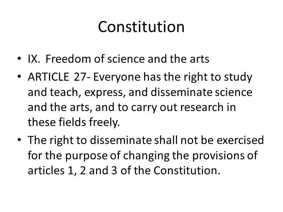 Constitution IX. Freedom of science and the arts