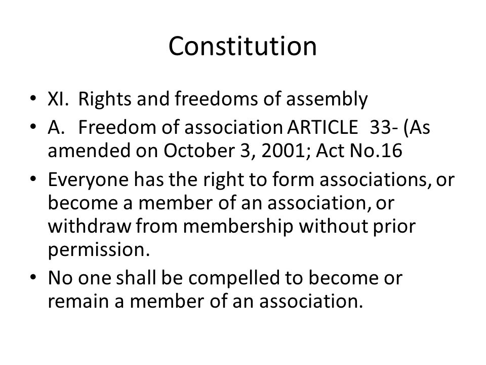 Constitution XI. Rights and freedoms of assembly