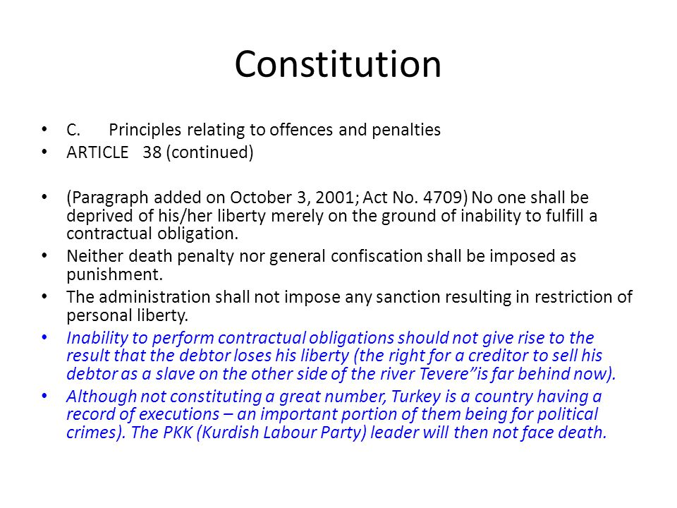Constitution C. Principles relating to offences and penalties